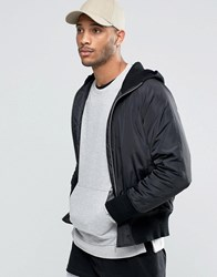 Asos Bomber Jacket With Knitted Hood In Black Black
