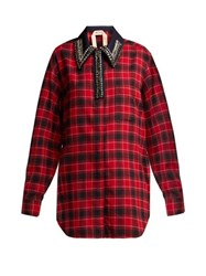 No. 21 Crystal Embellished Checked Cotton Shirt Black Red