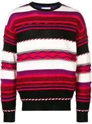 Laneus Intarsia Knit Jumper Black