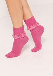 Missguided Frill Ankle Socks Pink