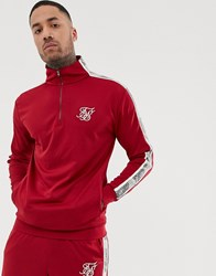 Sik Silk Siksilk Half Zip Track Top In Red With Side Stripe