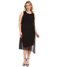 Vince Camuto Plus Size Sleeveless Dress With Asymmetrical Chiffon Overlay Rich Black Women's Dress