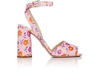 Prada Women's Patent Leather Ankle Strap Sandals Light Pink Purple Orange Brown