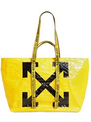 Off White Logo Printed Pvc Tote Bag Yellow
