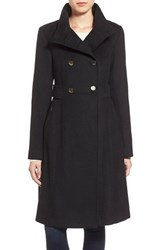 Women's Eliza J Stand Collar Wool Blend Military Coat Black