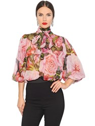 Dolce And Gabbana Roses Printed Silk Chiffon Shirt