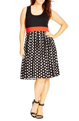 City Chic Plus Size Women's 'Contrast Spot' Mixed Media Dress Black Big Spot