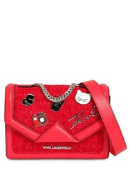 Karl Lagerfeld Mini K Klassik Pins Leather And Tweed Bag Red