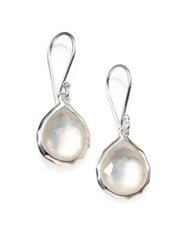 Ippolita Rock Candy Mother Of Pearl Clear Quartz And Sterling Silver Teeny Doublet Teardrop Earrings