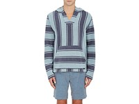 Faherty Men's Baja Striped Cotton Hoodie Blue