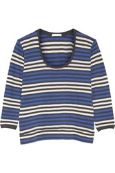 Skin Brigitte Striped Cotton Jersey Pajama Top Blue