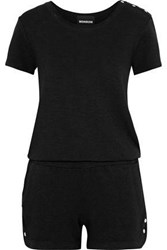Monrow Snap Detailed Terry Playsuit Black