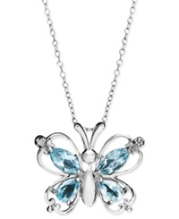 Victoria Townsend Sterling Silver Necklace Blue Topaz 2 3 8 Ct. T.W. And Diamond Accent Butterfly Pendant