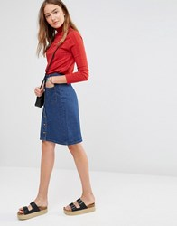 Brave Soul Button Knee Denim Skirt Dark Denim Blue