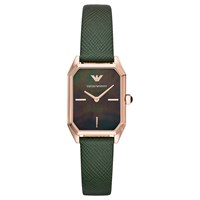 Emporio Armani Ar11149 'S Rectangular Leather Strap Watch Green