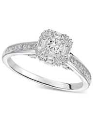 Macy's Diamond Engagement Ring In Sterling Silver 1 2 Ct. T.W.