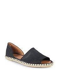 Saks Fifth Avenue Leather Peep Toe D'orsay Espadrilles Black