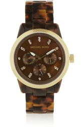 Michael Kors Ritz Acetate And Gold Tone Watch Animal Print