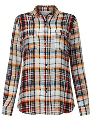 Collection Weekend By John Lewis Silk Check Shirt Multi