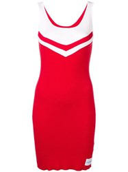 Calvin Klein Jeans Cheerleader Ribbed Dress Red