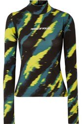 House Of Holland Embroidered Tie Dyed Stretch Cotton Jersey Turtleneck Top Black