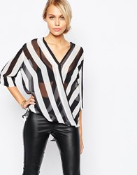 Ax Paris Cross Front Blouse In Stripe Multi