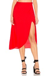 For Love And Lemons Gabriella Button Up Midi Skirt Red