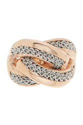 Adami And Martucci 18K Rose Gold Vermeil Crisscross Mesh Accent Ring Metallic