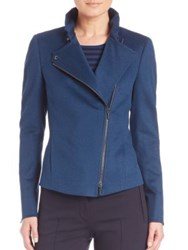 Akris Punto Wool And Angora Asymmetrical Zip Jacket Tarn