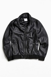 Urban Outfitters Uo Faux Leather Zip Collar Track Jacket Black