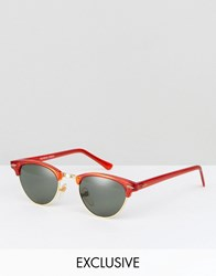 Reclaimed Vintage Inspired Retro Sunglasses In Red Red