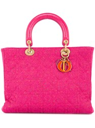 Christian Dior Vintage Lady Canage 32 Tote Pink And Purple