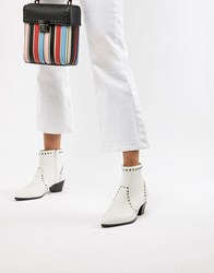 Faith Bud Studded Heeled Ankle Boots White