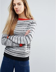 Shae Broken Stripes Jumper With Red Trim Off White Multi