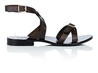Barneys New York Leather Ankle Wrap Sandals Brown