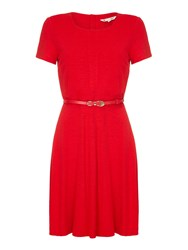 Yumi Belted Short Sleeve Dress Red