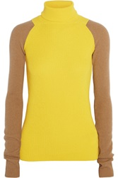 Victoria Beckham Two Tone Ribbed Cashmere Turtleneck Sweater