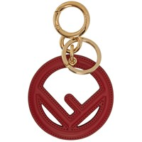 Red Leather 'F Is Fendi' Keychain