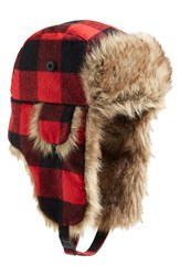 Pj Salvage Plaid Trapper Hat With Faux Fur Trim