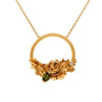 Lee Renee Rose Halo Diamond And Tourmaline Necklace Rose Gold Pink Purple Green