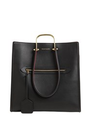 Alexander Mcqueen The Tall Story Bicolor Leather Tote Black