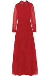 Valentino Leather Trimmed Silk Chiffon Gown Red