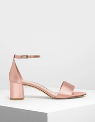Charles And Keith Satin Block Heel Sandals Nude