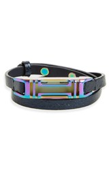 Tory Burch Women's For Fitbit Leather Wrap Bracelet Navy Iridescent