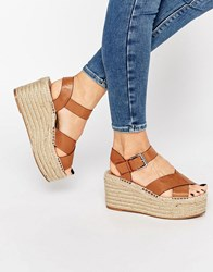 Pull And Bear Pullandbear Wedges With Crossover Straps Leather Tan