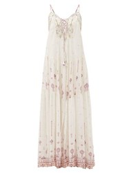 Camilla Tanami Road Beaded Lace Up Silk Crepe Dress White Multi