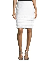 Trina Turk Saden Fringed Hem Pencil Skirt White