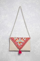Forever 21 Embroidered Envelope Clutch Natural Pink
