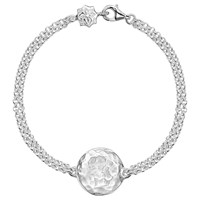 Dower And Hall Engravable Cherish The Moment Disc Double Chain Bracelet Silver