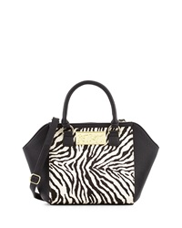 Betsey Johnson Zebra Print Wing Satchel White